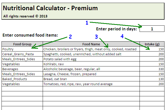How to enter foods into nutritional calculator